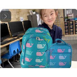 NBN-27-TO Big Turquoise Background Multi Whale Backpack