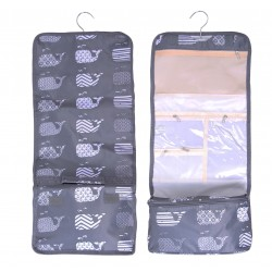 NCB25-27-GREY New Whale Pattern Hanging and Folding Organizer Cosmetic Bag