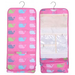 NCB25-27-P Pink Background Multi Whale Pattern Hanging and Folding Organizer Cosmetic Bag