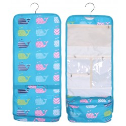NCB25-27-TO Turquoise background Multi Whale Pattern Hanging and Folding Organizer Cosmetic Bag