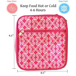 NCC17-17-P Superior Pink Twist Pattern Insulated Lunch Tote Bag