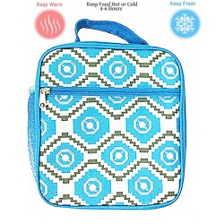 NCC17-18-TG Superior Blue Grey Geometric Pattern Insulated Lunch Tote Bag