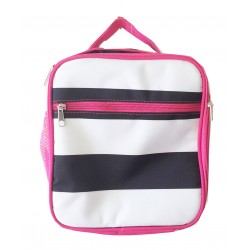 NCC17-23-BW-P Superior Black White Strip Pattern Insulated Lunch Tote Bag