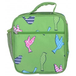 NCC17-26-G Superior Green Bird Pattern Insulated Lunch Tote Bag