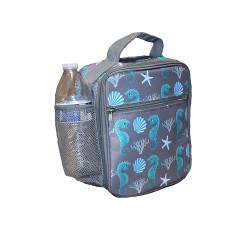 NCC17-32-GREY Superior Grey Seahorse Pattern Insulated Lunch Tote Bag