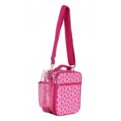 NCC17S-17-P Superior Pink Twist Pattern Insulated Lunch Tote Bag With Strip