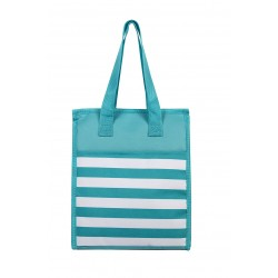 NCC18- 23-TO Turquoise White Stripe  Pattern Insulated Lunch Tote Bag