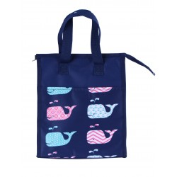 NCC18-27-BL Blue Background Multi whale Pattern Insulated Lunch Tote Bag