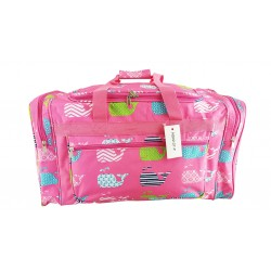 "ND22-27-P Pink background Multi Whale 21"" Duffel Bag"