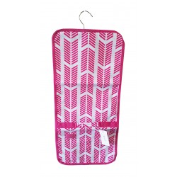 NJ-22-P Pink White Arrow Pattern Hanging and Folding Jewelry Bag