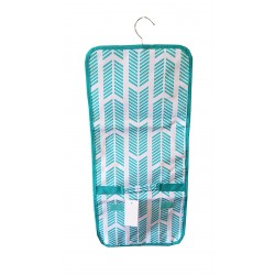 NJ-22-TO Turquoise White Arrow Pattern Hanging and Folding Jewelry Bag