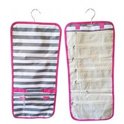 NJ-23-GREY-P Grey White With Pink Trim Stripe Pattern Hanging and Folding Jewelry Bag