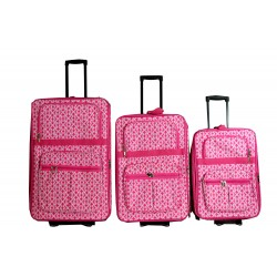 NLL-17-P 3 pcs set Luggage pink White Heart Pattern 2 Wheels Soft side Expandable luggage