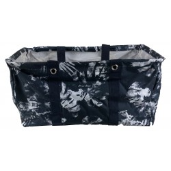 NU-51 Collapsible Wire Frame Black White Tree Leaf Pattern Trunk Organizer market bags,  Large  Rectangular Utility Bag, Organizer, Laundry Bag.