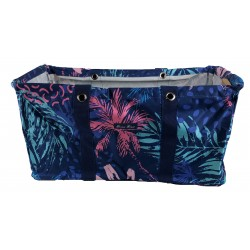 NU-52 Blue Tree Leaf Collapsible Wire Frame  Pattern Trunk Organizer market bags,  Large  Rectangular Utility Bag, Organizer, Laundry Bag.